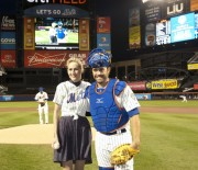 Leelee Sobieski - Thows out first pitch at Mets vs Giants game, Flushing NY (April 23rd, 2012)